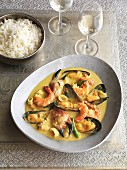 Keralan seafood curry with rice (India)