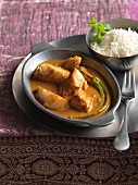 Fish curry with rice (India)