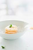 A mini vegetable tartar lasagne