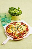 Margherita pizza with fresh tomato sauce