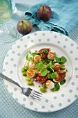 Scallops with figs, broad beans and watercress