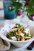 Penne pastel with salsicce, kale and Parmesan cheese