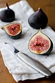 Figs on a white napkin