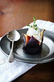A fig with goat's cheese and thyme