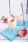Zabaglione with pomegranate seeds
