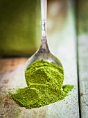 Moringa powder on a spoon