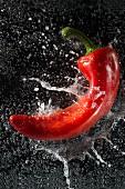 Rote Paprikaschote fällt ins Wasser