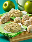 Apple and coconut biscuits and coconut and mango pralines
