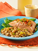 Fried wild salmon with beans and mange tout