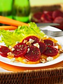 Orange and beetroot salad with Gorgonzola and walnuts