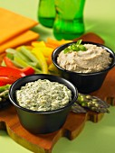 Tzatziki and sunflower seed hummus with vegetable sticks