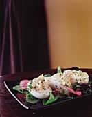 Devilled eggs on vegetables