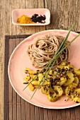 Spicy cucumber curry with soba noodles