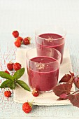 A strawberry smoothie with red orach
