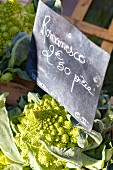 Romanesco broccoli on a market stand in France