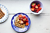 Quinoa waffles with strawberries and cherries