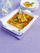 Roast kumara, basil and mozzarella frittata