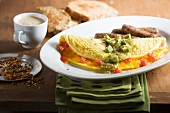Tex-Mex omelette with avocados and sausages