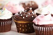 Various decorated cupcakes (close-up)