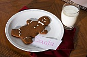 A gingerbread man and a glass of milk for Santa