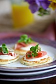 Blinis with mustard sour cream, Serrano ham and watercress