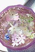 weiße und blaue Blüten schwimmen im Wasserglas