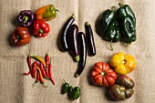 An arrangement of peppers, tomatoes, aubergines and chilli peppers on a piece of hessian