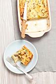 Mushroom and leek bake, sliced
