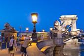 Die Kettenbrücke am Budaer Ufer in Abenddämmerung, Budapest, Ungarn
