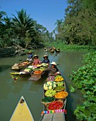 A floating market, Thailand, Asia