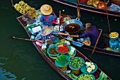 Schwimmender Markt, Damnoen Saduak, Ratchaburi Provinz, Thailand, Südostasien, Asien