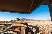 Wolwedans, NamibRand Nature Reserve, Namibia, Africa - Stephan Brückner (Wolwedans boss) touring in the Jeep