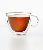 Chai tea in a glass cup