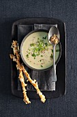 Cheese and mustard soup with spring onions and breadsticks