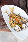 Fried mackerel with chilli sauce (Thailand)