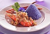 Garlic prawns with blue rice (Thailand)