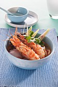 Spicy-sour soup with prawns and young coconut (Thailand)