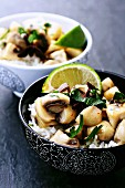 A bowl of mushroom and coconut milk curry on a bed of rice