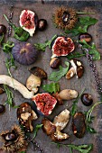 Autumnal ingredients for salads: figs, porcini mushrooms and chestnuts