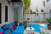 The pool at the El Fenn, Riad Boutique Hotel belonging to Vanessa Branson in the Medina of Marrakesh, Morocco