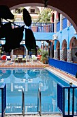 A courtyard with a pool in the Hotels Riad Moulay Said in Rue Riad Zitoun Lakdim, Medina Marrakesh, Morocco