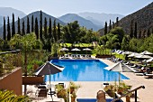 Kasbah Tamadot, hotel complex with a pool near Asni with a view of the Atlas Mountains, Marrakesh, Morocco