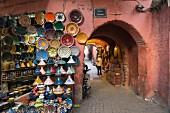Ceramics for sale in a souk in the Medina of Marrakesh, Morocco