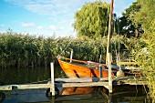 A sailing boat near Warthe in Lieper Winkel on Usedom, Mecklenburg-Vorpommern