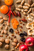 Nuts and dried fruit on a hessian sack