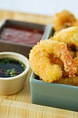 Coconut battered prawns with a dip