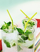 Mineral water with limes and basil