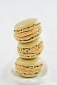 A stack of pistachio macaroons