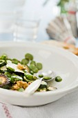 A warm courgette salad with broad beans
