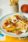 Peach and ham salad